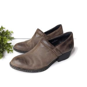 Born Ankle Booties 7 Brown Distressed Slip On Low
